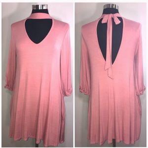 Dresses & Skirts - Blush Choker Long Sleeve Dress